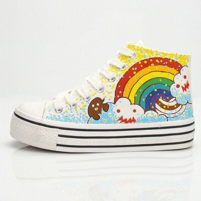 Cute sweet stars rainbow shoes Cute Kawaii Harajuku Fashion - clothing sponsorship