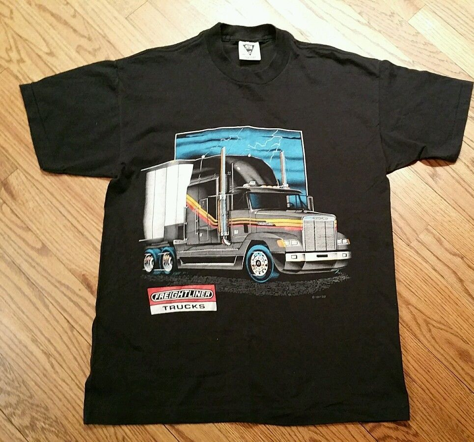 Black t shirt large - Vintage Freightliner Trucks Trucker T Shirt 1991 Black Tee Men Large Semi Truck Ssi