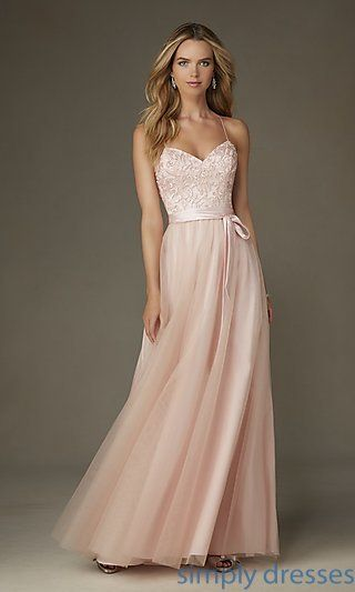 ML-132 - Embroidered-Bodice Long Sweetheart Gown | Dress formal ...