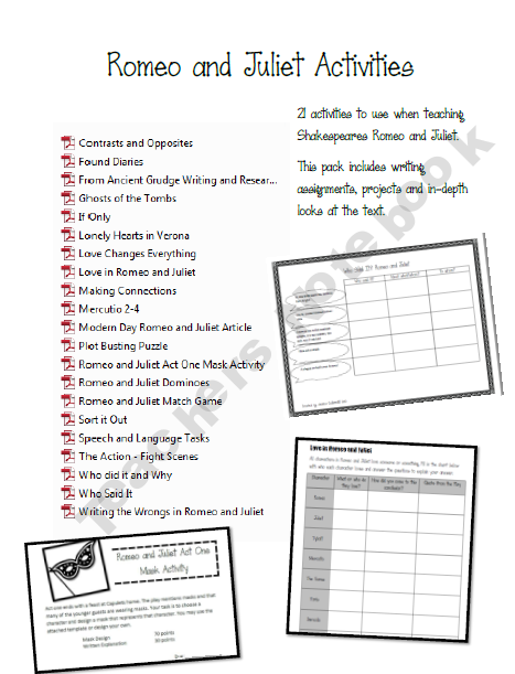 Romeo and Juliet Activity Pack | 9th -12th Grade | Teaching