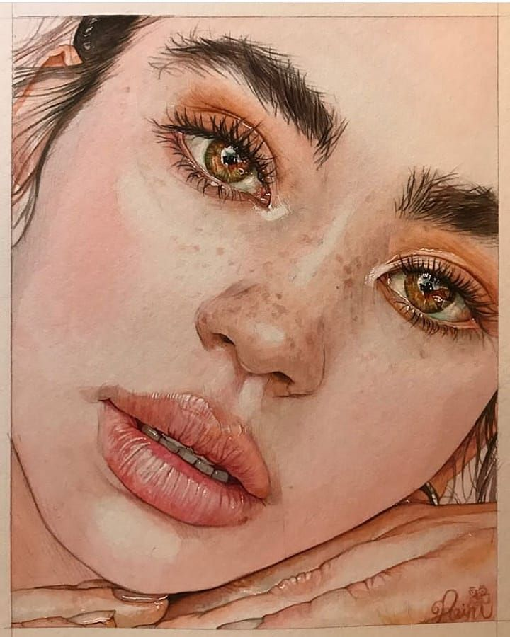 """Photo of Portrait Drawings on Instagram: """"?These watercolors are amazing ?Swipe? What do you think ?☺️ Follow the artist? •••••••••••••• ?Artist: @_reina_yamada_ ?DM or Email…"""""""