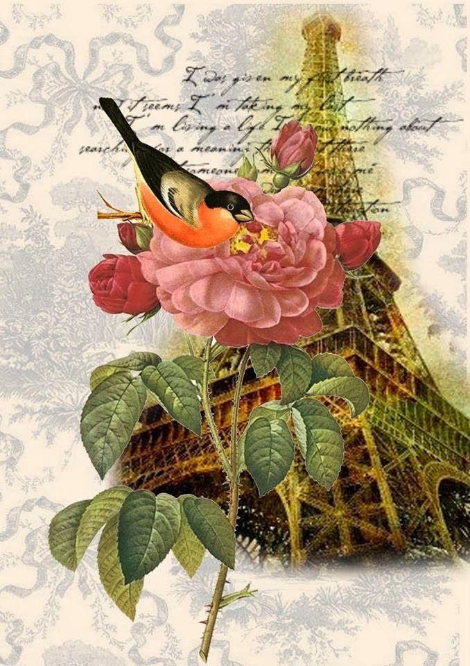 Ahşap Boyama 58 Gülçiçek Desenli Dekupaj Vintage Collage