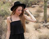 70s black pleated dress