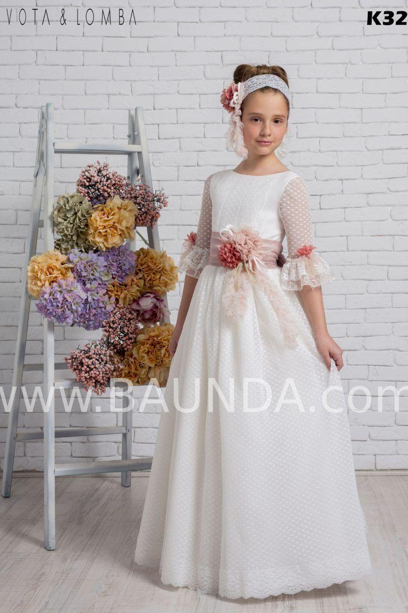 Vestido Comunion 2020 Devota Lomba K325 En 2020 Vestidos De Comunión Vestidos Para Primera Comunion Vestido Floreado De Niña