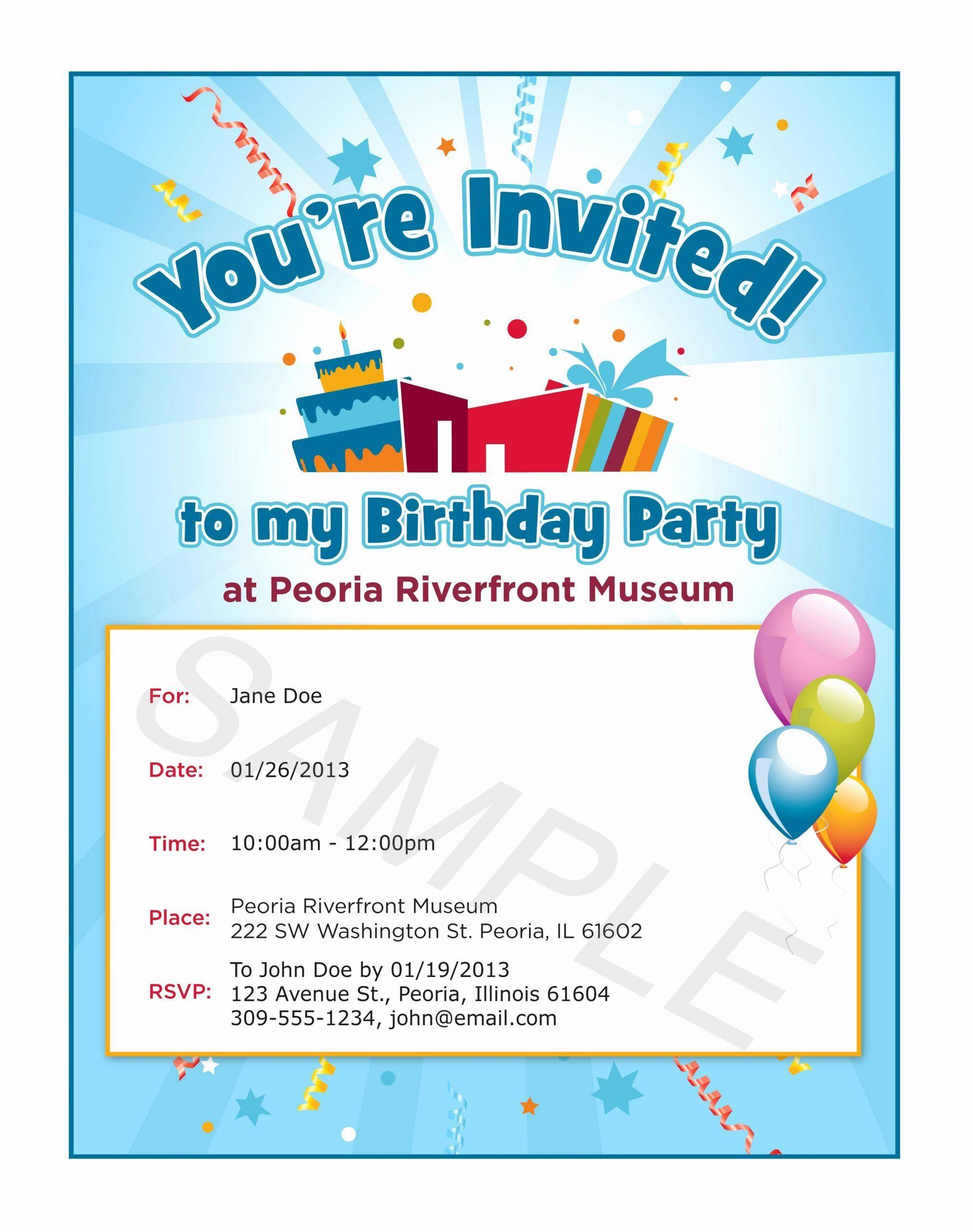 Text Message Invitation Birthday Party Elegant Children S Birthday Party Invitation Birthday Invitation Message Invitation Card Birthday Party Invite Template