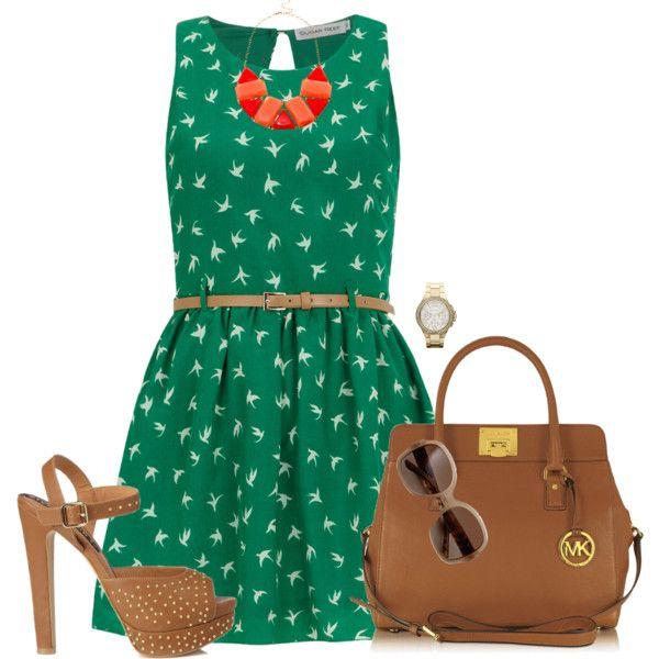 Caramel, Green & Coral! by jjanstover on Polyvore