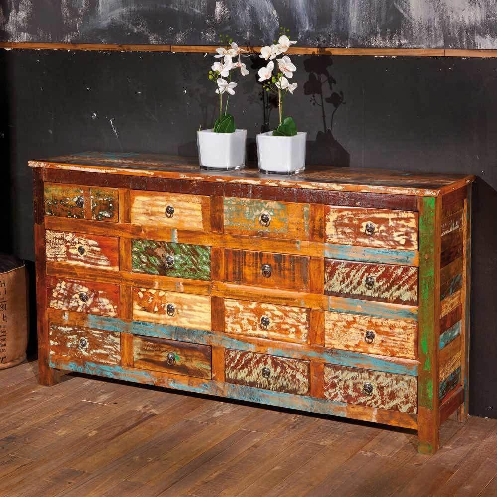Attraktiv Sideboard Vollholz Referenz Von Schubladen Im Shabby Chic Design Bunt Holz