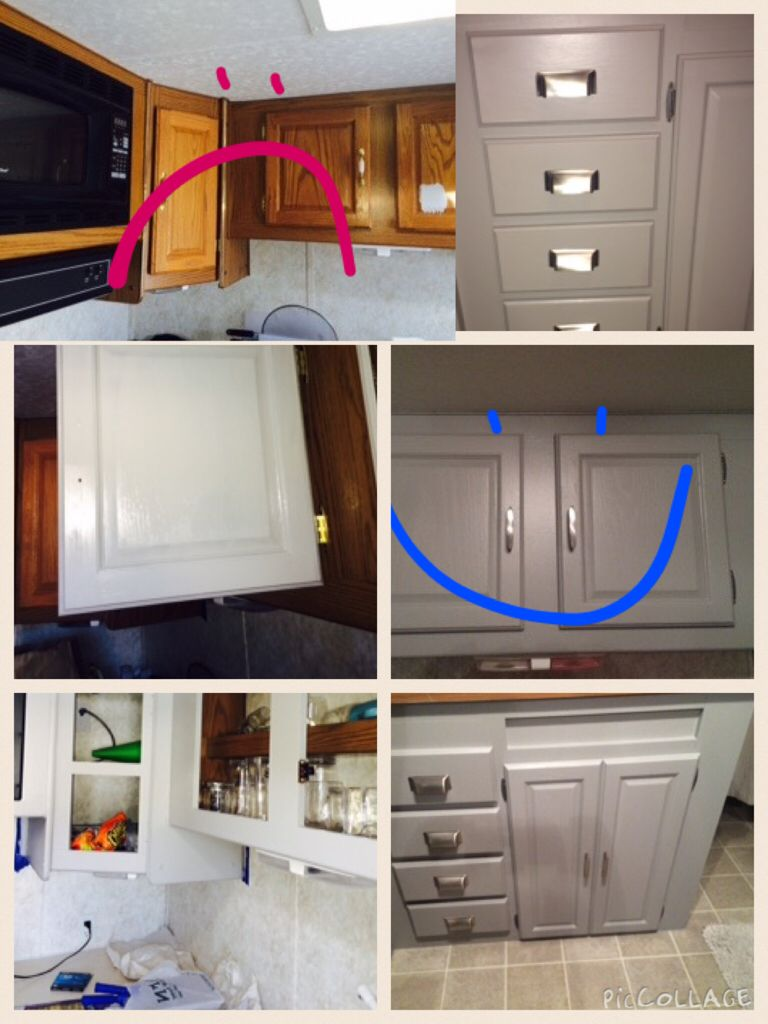 Cabinets Redone Rocky Bluffs Valspar Signature Primer In One Paint Home Depot Hardware Rvliving Glamping Redo Cabinets Valspar Paint Colors Cabinet Colors