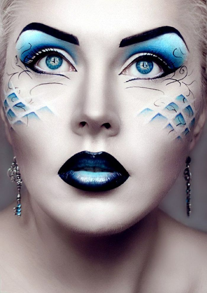 maquillage halloween yeux bleu