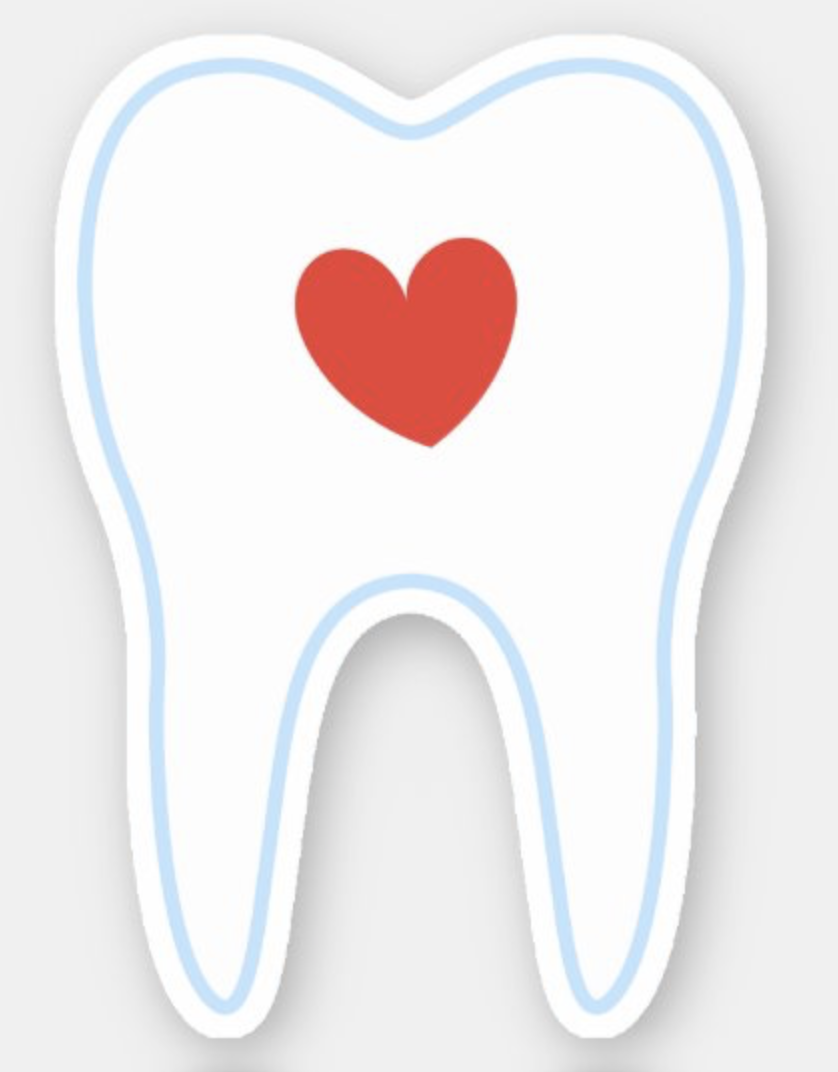 Tooth with red heart sticker in 2020 Red