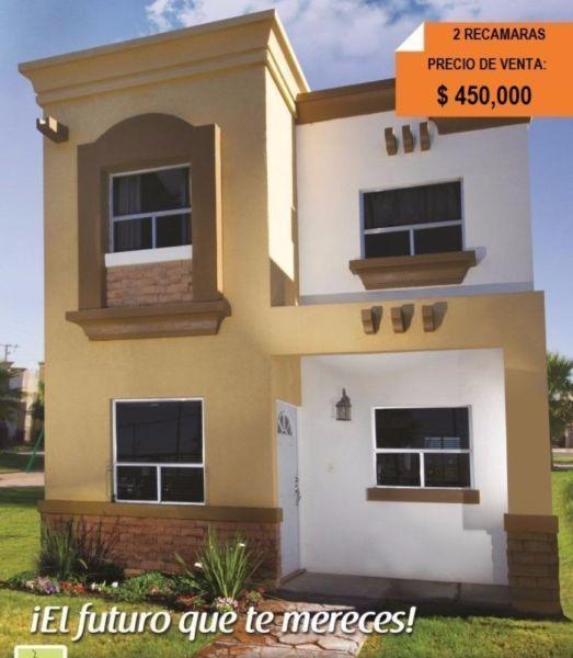 Casa en venta de 2 rec 450 000 pesos mexicali for Diseno de exteriores de casas pequenas