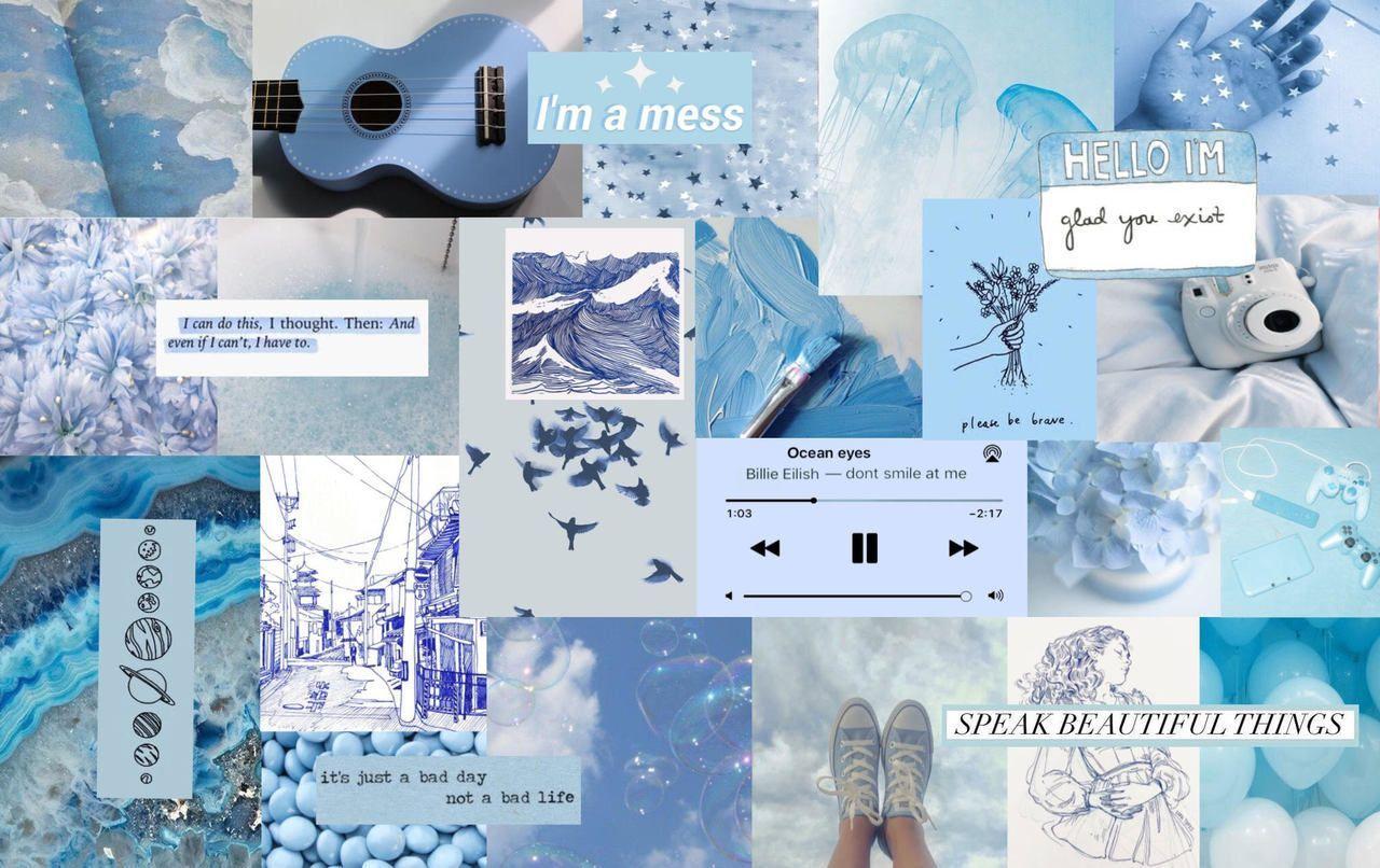 Blue Aesthetic Cute Desktop Wallpaper Aesthetic Desktop Wallpaper Computer Wallpaper Desktop Wallpapers