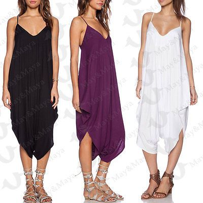 a7e0e198f50 May Maya Women s V Neck Low Back All In One Harem Jumpsuit Romper Playsuit  Pants