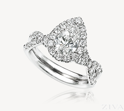 Pear Shaped Halo Engagement Ring with Braided Diamond Band