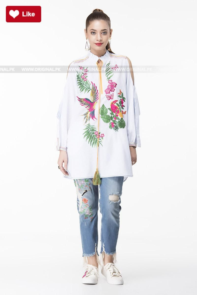 a8fa80f514c56 Ethnic Cold Shoulder Fusion Top EWPFF17028-SBL Pret 2017 - Original Online  Shopping Store  ethnic  ethnic2017  ethniclawn  ethniclawn2017   ethnicpret2017 ...