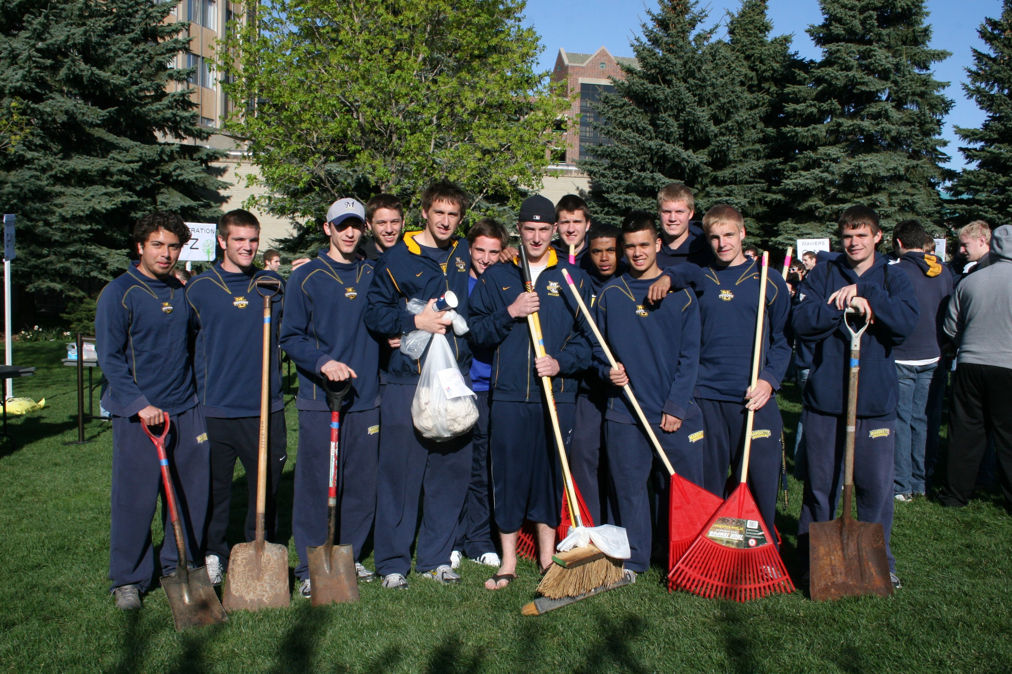 A variety of student organizations participate in Hunger Clean-Up each year, including MU Athletic teams like the Men's Soccer team.