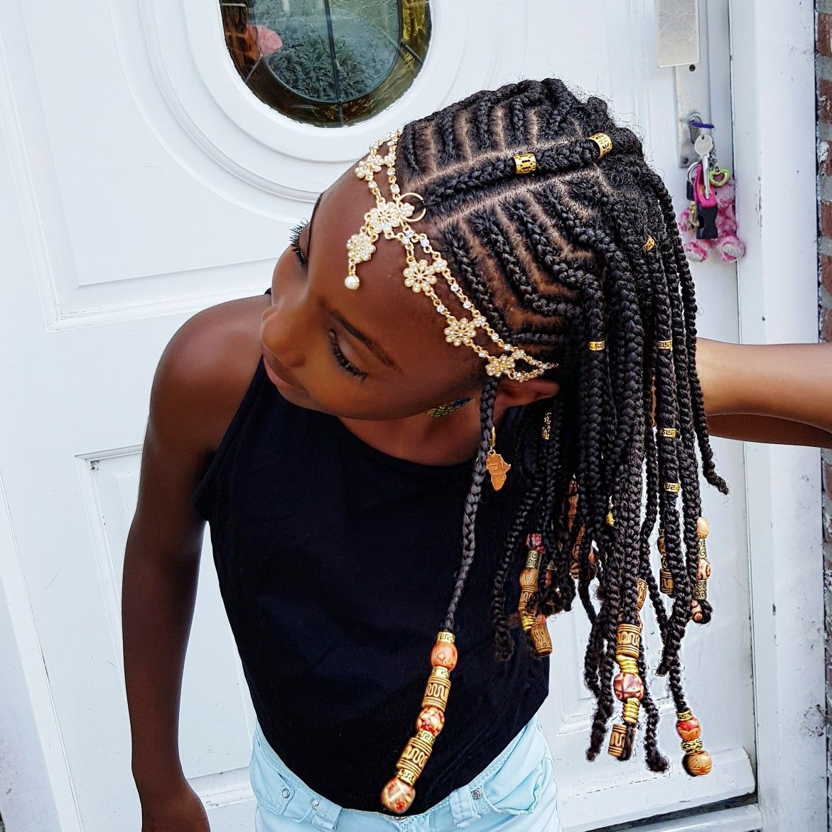 Braids and Beads- Natural hairstyles for girls   Braid ...