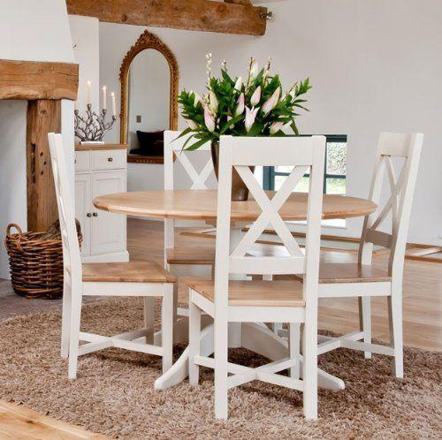 Avana Painted Furniture Oak Round Pedestal Dining Table Co Uk Kitchen
