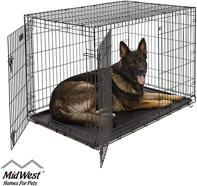 Amazon Com Xl Dog Crate Midwest Icrate Double Door Folding Metal Dog Crate W Divider Panel Xl Dog Breed Black Kong In 2020 Large Dog Crate Dog Crate Cat Crate