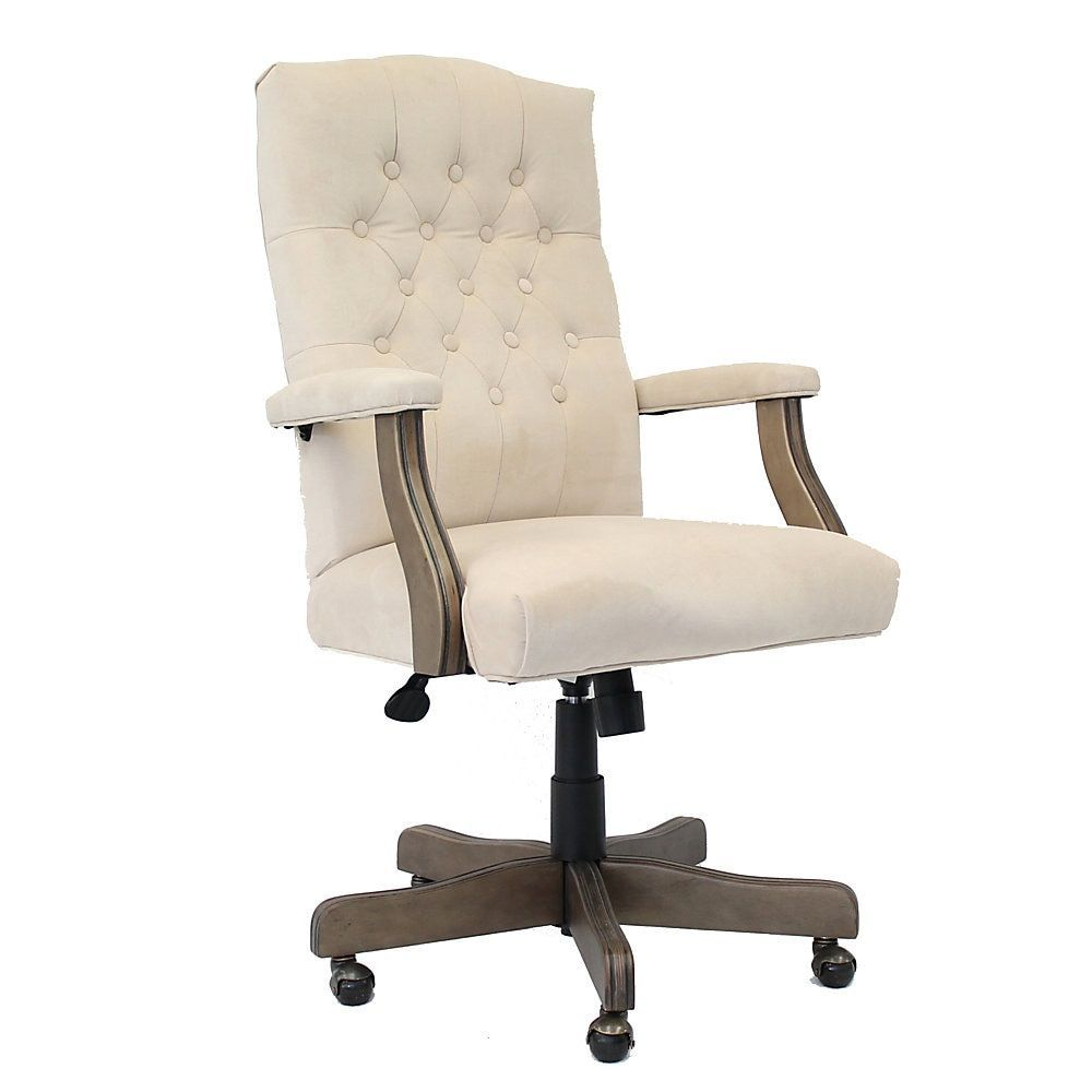 Boss buttontufted highback chair champagne velvet