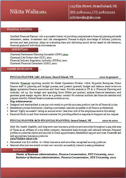 excellent professional resume sample format for all career