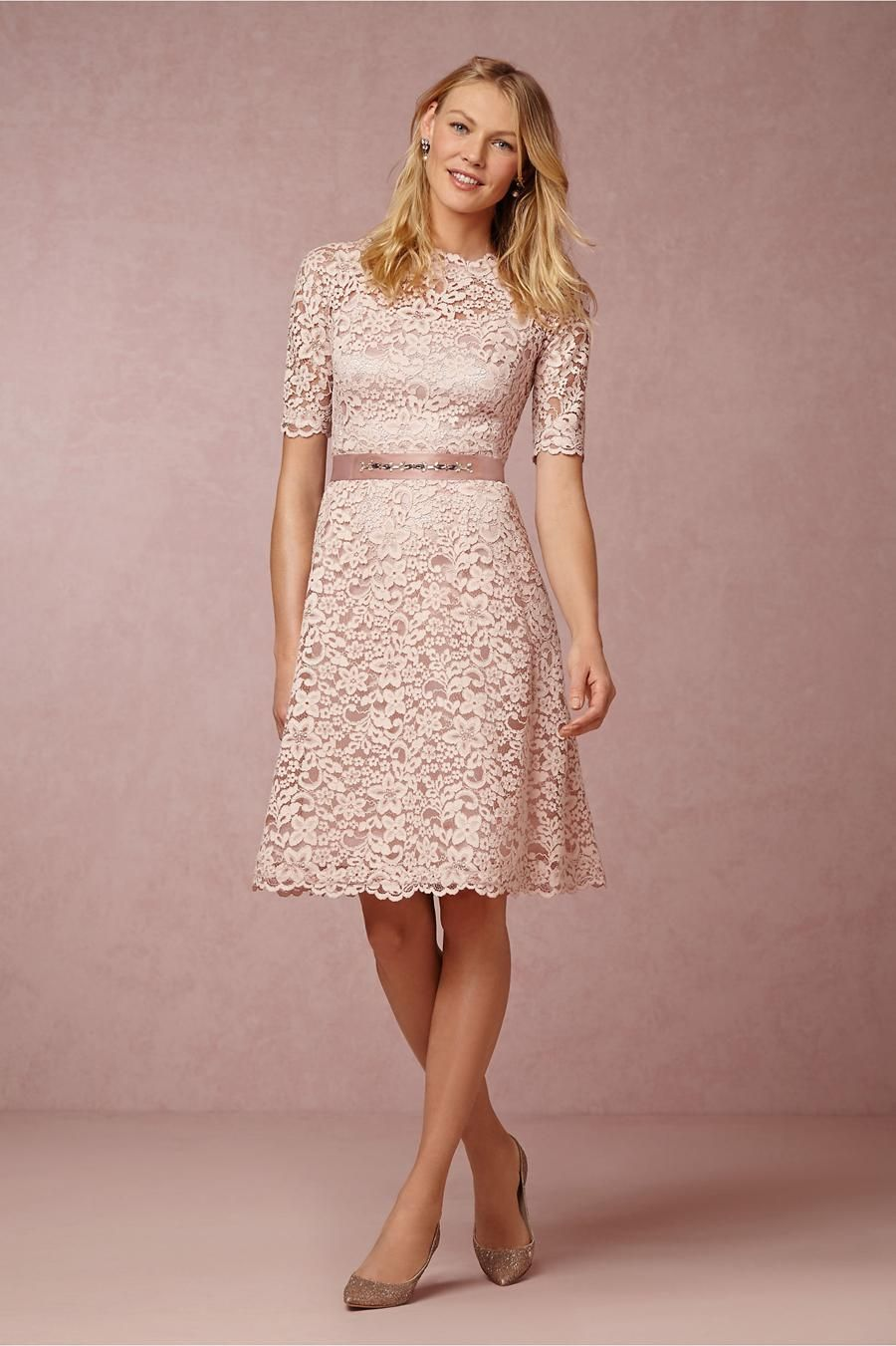 Blush Pink Knee Length Dress