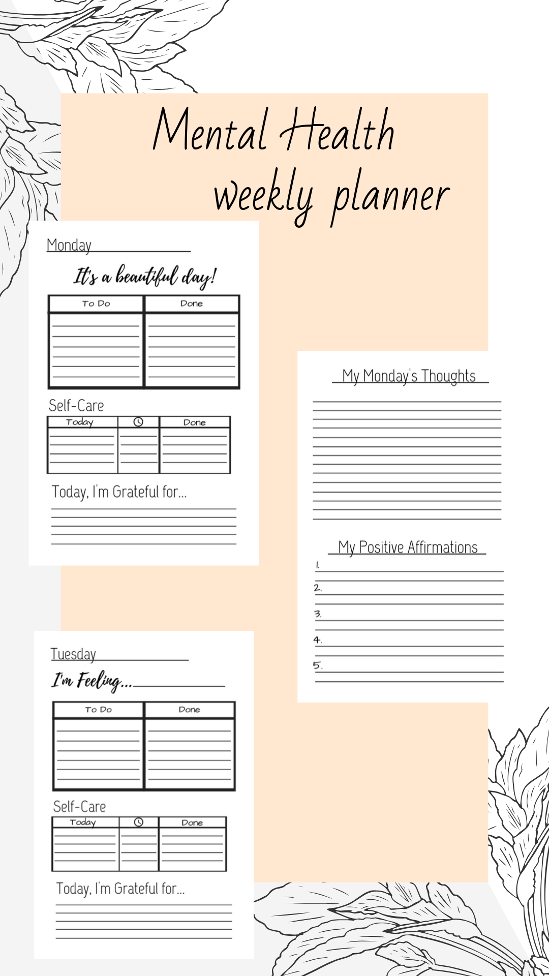 Self Care Motivational Weekly Planner A4 And A5 Size To