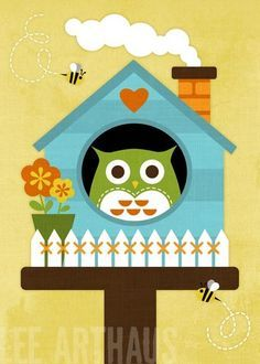Bright Owl House and Bees Print