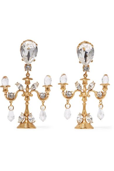 Gold-tone, Enamel And Crystal Earrings - one size Dolce & Gabbana