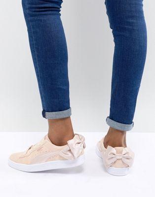 Zapatillas de deporte de ante rosa con lazo Valentines de