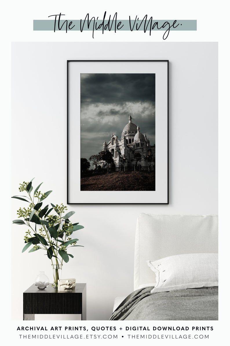 Downloadable Paris Sacre Cœur Basilica Photo Print Paris Moody Print Photography Print Paris Downloadable Prints Paris Architecture Wall Art Huge Wall Art Photography Print Stylish Art Prints