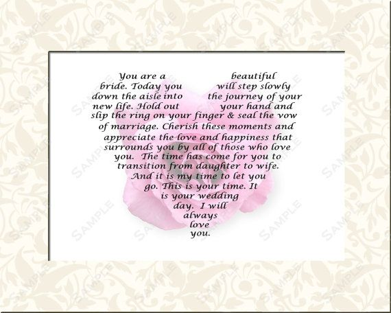 Bridal Gift for Wedding Day Mother or Father to Daughter 8 X 10 ...