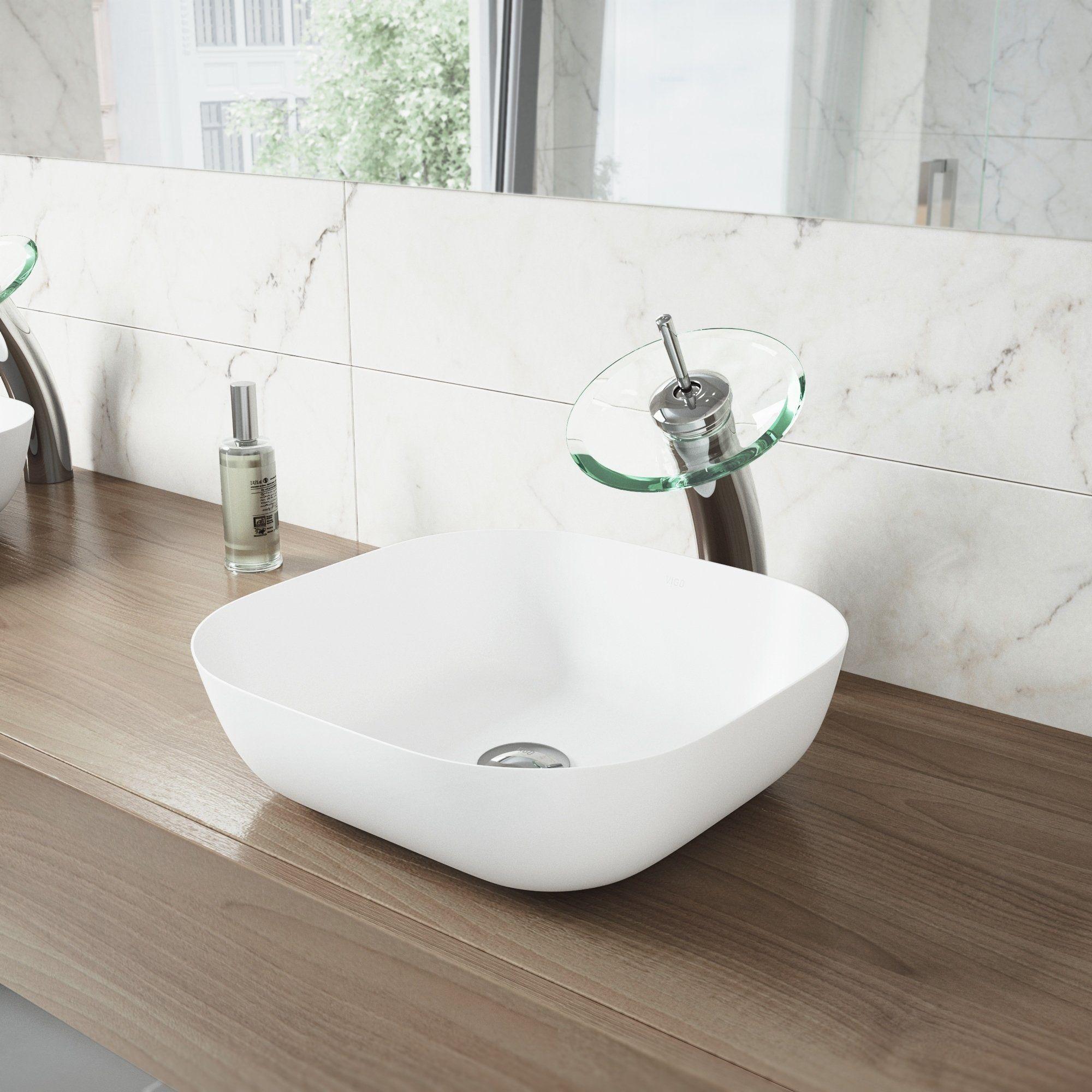 Vigo Camellia Matte Stone Bathroom Sink Set With Waterfall