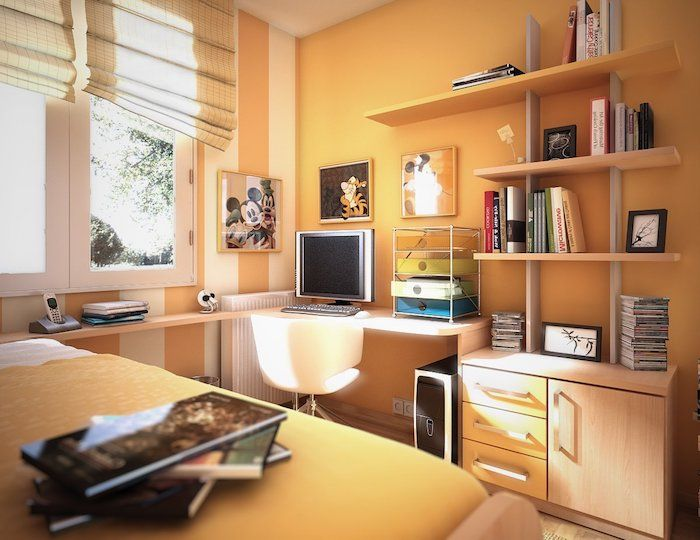 orange Wände, ein Schreibtisch mit weißen Stuhl, ein Bett mit