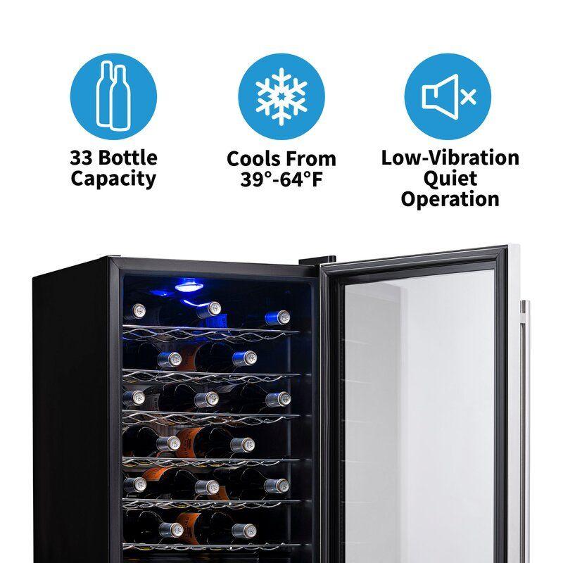 33 bottle single zone freestanding wine refrigerator in