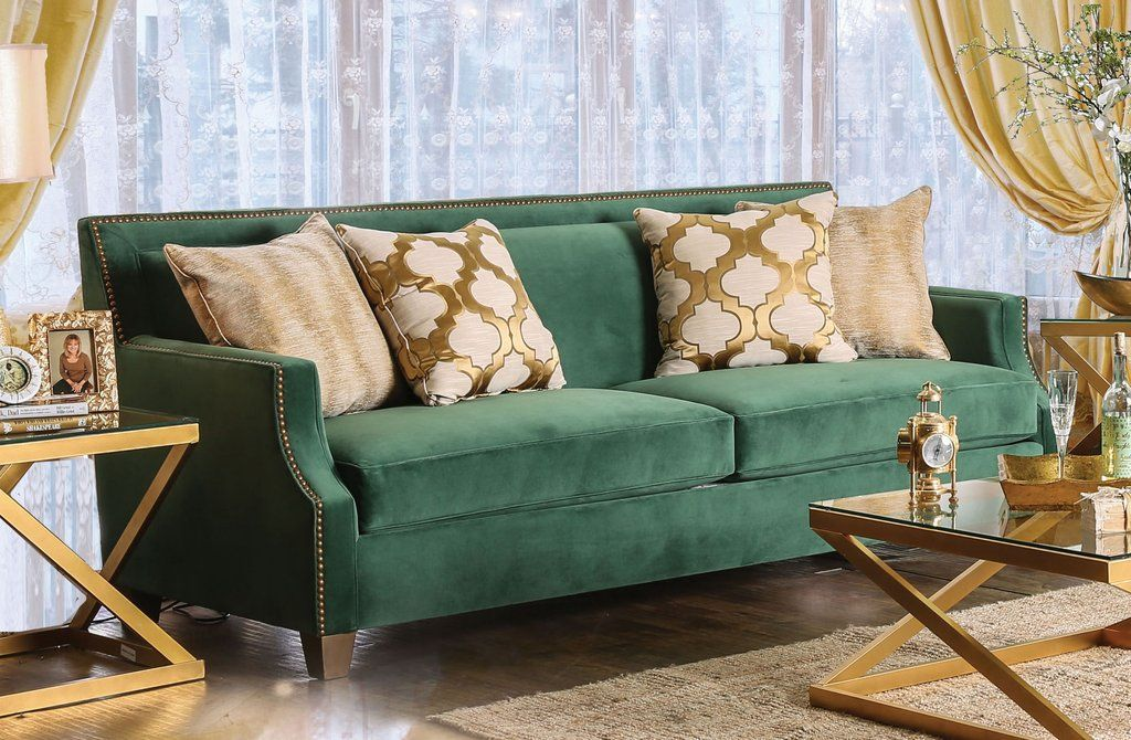 golnessa transitional microfiber sofa with gold accents