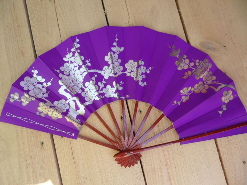 Vintage Paper Fan from Japan / Purple & Silver color