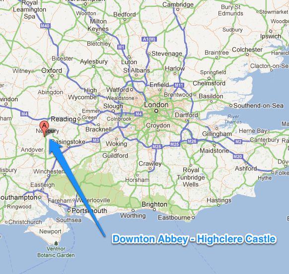 "Downton Abbey"" fans Tour Highclere Castle from London Google Map"