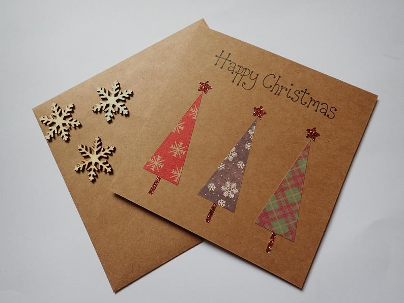 Handmade Christmas Card Festive Christmas Tree Card Etsy Christmas Cards Handmade Christmas Tree Cards Christmas Cards