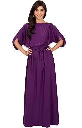 KOH KOH Womens Long Flowy Batwing Sleeve Evening Casual Gown Flowy Semi  Formal Office Wear to Work Summer Day Evening Loose Maxi Dress 3c78ee332