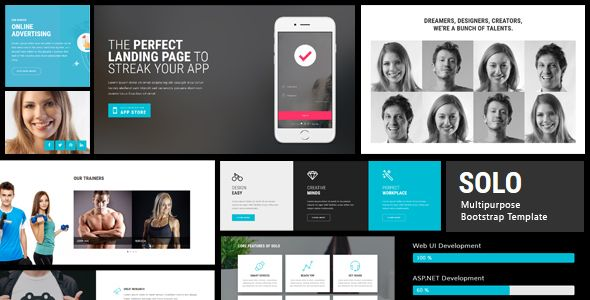 Solo - HTML Bootstrap Template  SOLO is a fully-featured multi - resume template app