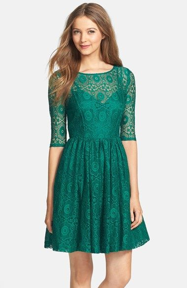 Emerald Lace Fit Flare Fall Wedding Guest Dress Wedding Attire Guest Fit Flare Dress