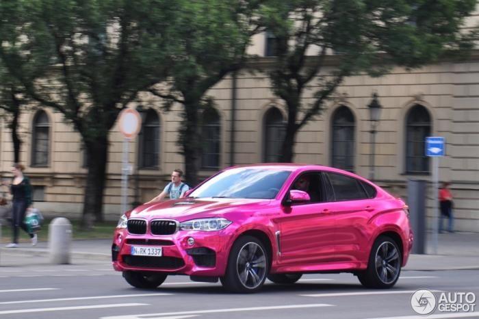 Bmw X6 M With Chrome Pink Wrap Spotted In Munich Pink Bmw Bmw X6 Bmw