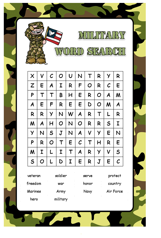 Military Word Search Coloring pages for kids, Word