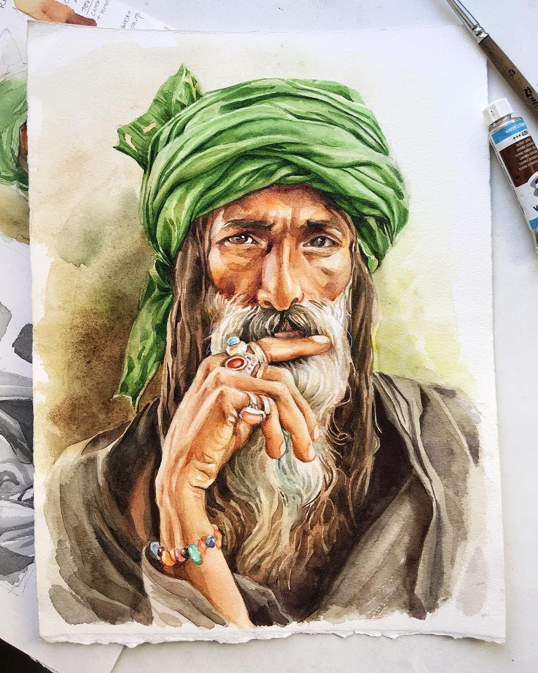 V Ramkah Marafona Risuemrasy 1 Ya Rasskazhu Ne Tolko O Zagadochnom Vostoke No I Tonkostyah Risovaniya Indijskogo Muzhchiny Portrait Art Portrait Tattoo