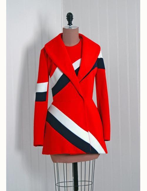 ae3893516ba17 1960 s Vintage Lilli-Ann Designer Space-Age Stewardess Mod Tunic Dress Suit