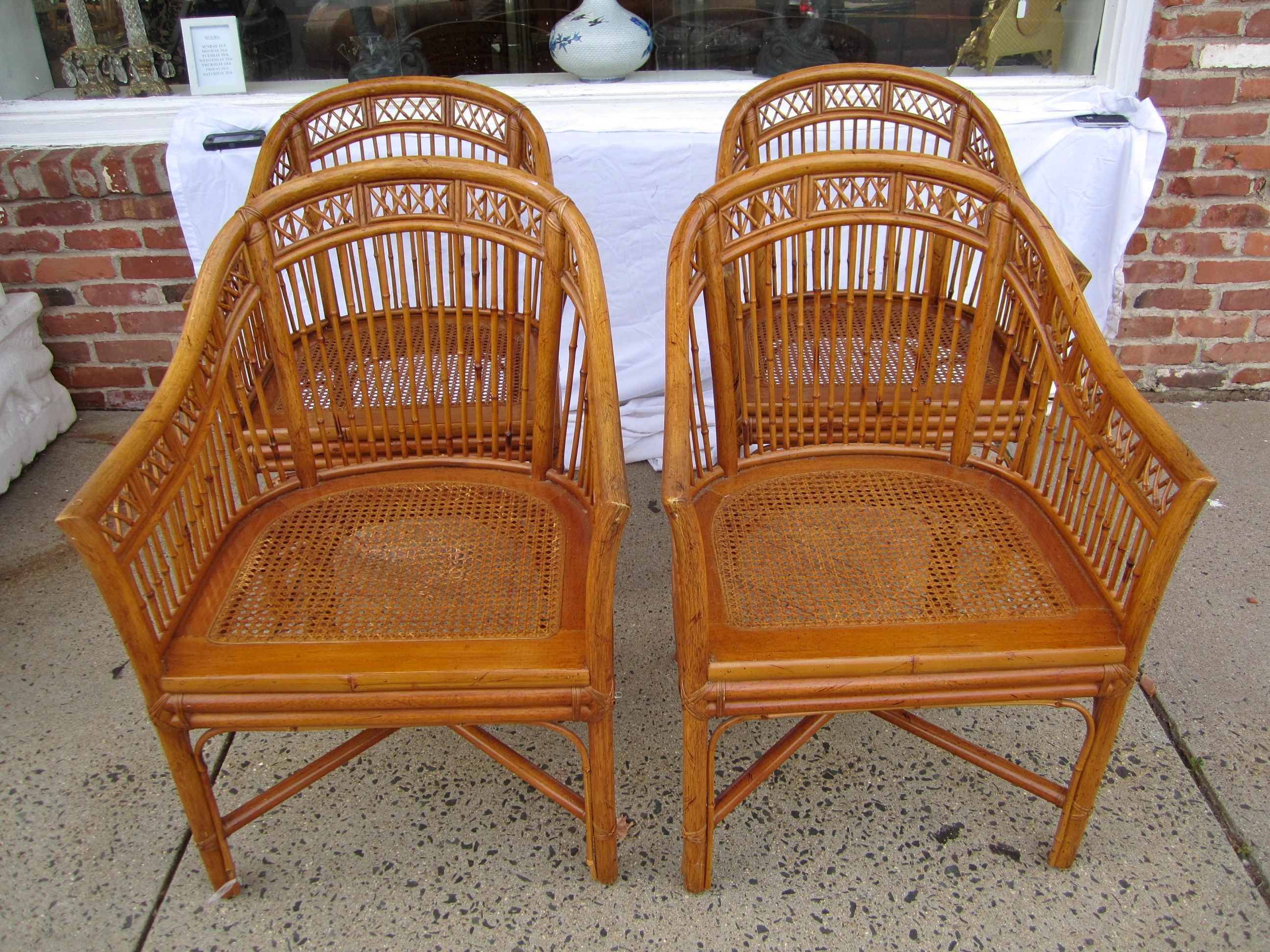 Set Of 4 Vintage Bamboo Chairs