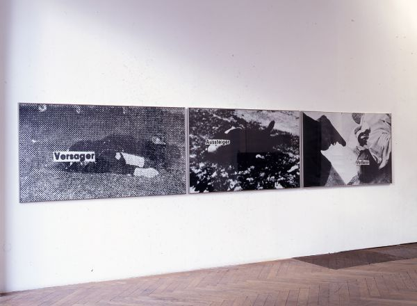 Astrid Klein Title: Versager - Aussteiger - Verlierer - Year: 1978 Material: Photographic work, three parts - 108 x 570 cm