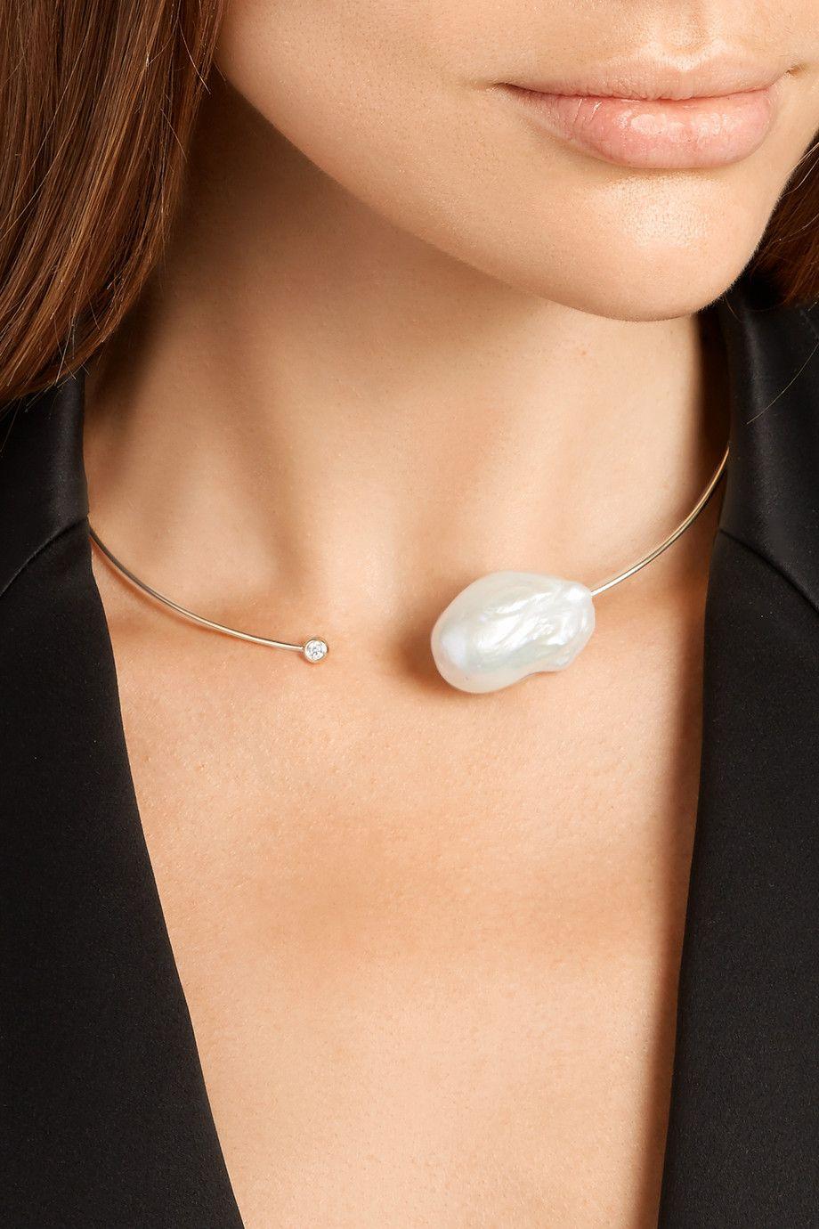 Mizuki 14-karat Gold, Freshwater Pearl And Diamond Necklace