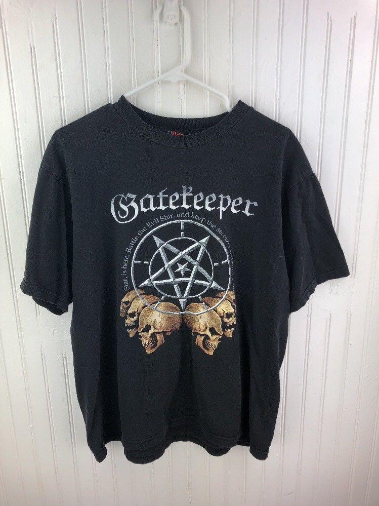 0332af8cd The Gatekeeper Black Graphic T Shirt Large Black 100% Cotton Rare ...